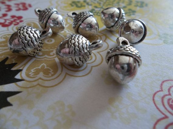 Three Dimensional Silver Acorn Charms  Qty 7 by Antiqued on Etsy