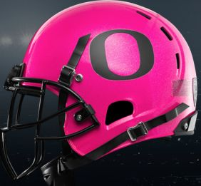 AWESOME University of Oregon DUCK Football helmets...Oregon Ducks pink helmets for breast cancer awareness GO DUCKS!!!!  Oct. 19th Ducks vs. Wash.St.