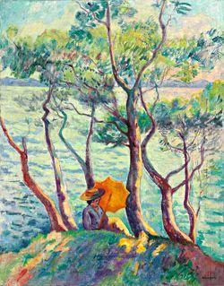 Henri Manguin, Jeanne à l'ombrelle, Cavalière, 1906, huile sur toile, 92x74 cm, Peter Findlay gallery © Adagp, Paris 2015 © Christie's Images / Bridgeman Images