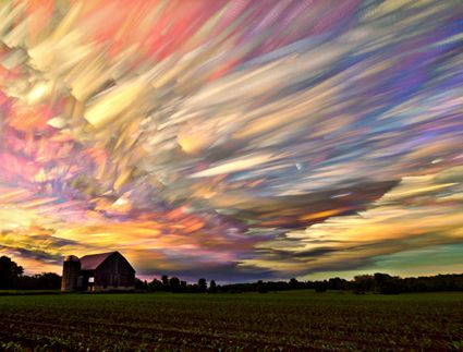 Canada based photographer Matt Molloy is a fan of time lapse portraits and natural events. Using the same process, Molloy realized he could apply the same technique to capture clouds as the day progresses. After stacking multiple exposures of the same landscape, the changes in the sky make feathery brushes strokes across the sky.  Would LOVE to PAINT THIS!!!