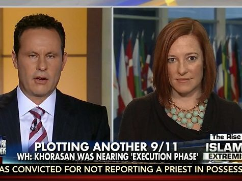 """9-30-14 appearance on Tuesday's broadcast of FNC's """"Fox & Friends,"""" State Department spokeswoman Jen Psaki to react to a report that President Barack Obama missed up to 60 percent of his intelligence briefings."""