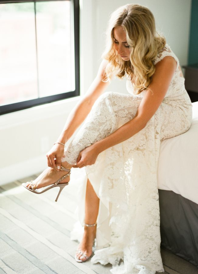 ALWAYS get a shoes photo! Elegant Saratoga Springs Summer Wedding: http://www.stylemepretty.com/new-york-weddings/saratoga-springs/2015/10/12/elegant-saratoga-springs-summer-wedding/ | Photography: Lindsay Madden - http://lindsaymaddenphotography.com/