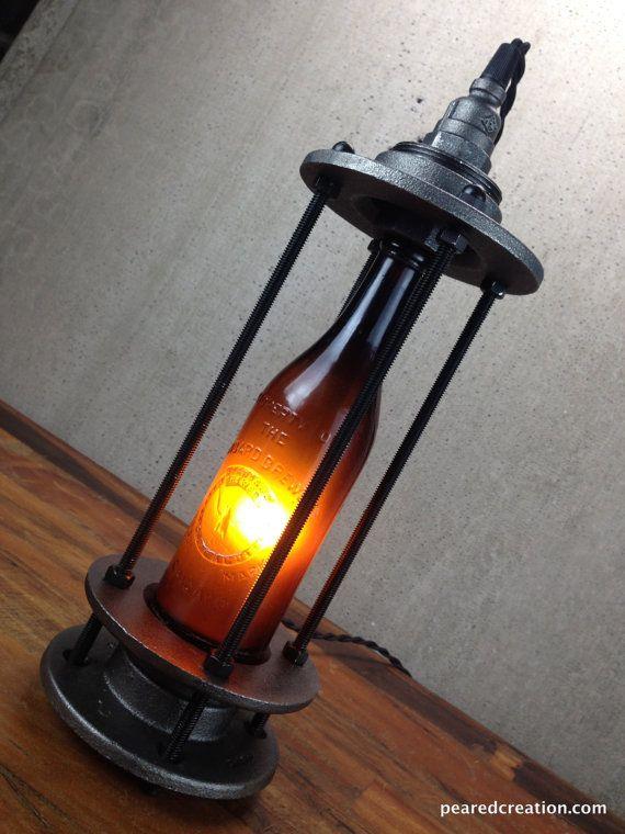 Vintage Beer Bottle Lamp Beer Promo by newwineoldbottles on Etsy