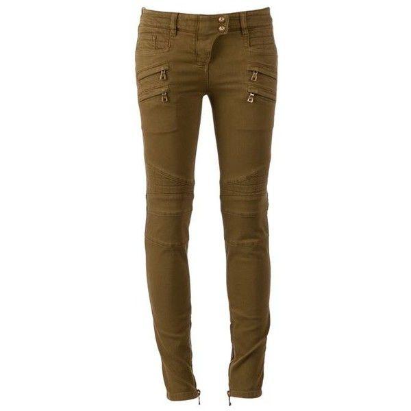BALMAIN skinny jeans ($1,185) ❤ liked on Polyvore featuring jeans, pants, balmain, brown skinny jeans, back zip skinny jeans, back zipper jeans and cut skinny jeans