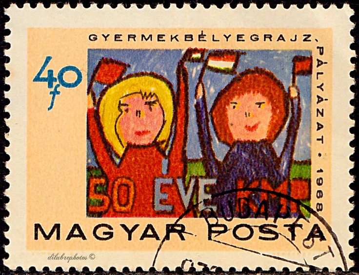 Hungary.  Pioneers Saluting Communist Party.  50th anniv. of the Communist Party of Hungary. The designs are from a competition among elementary school children.  Scott 1934 A417, Issued 1968 Nov. 16,  Photo.,  Perf. 12x11 1/2, 40. /ldb.