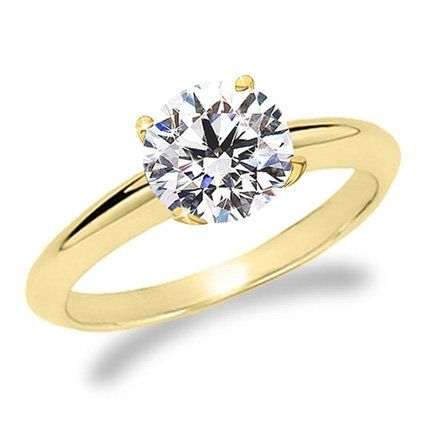 1 Carat Round Cut Diamond Solitaire Engagement Ring 14K Yellow Gold 4 Prong (J, I2, 1 c.t.w) Very Good Cut $1,662.00 #HoustonDiamondDistrict