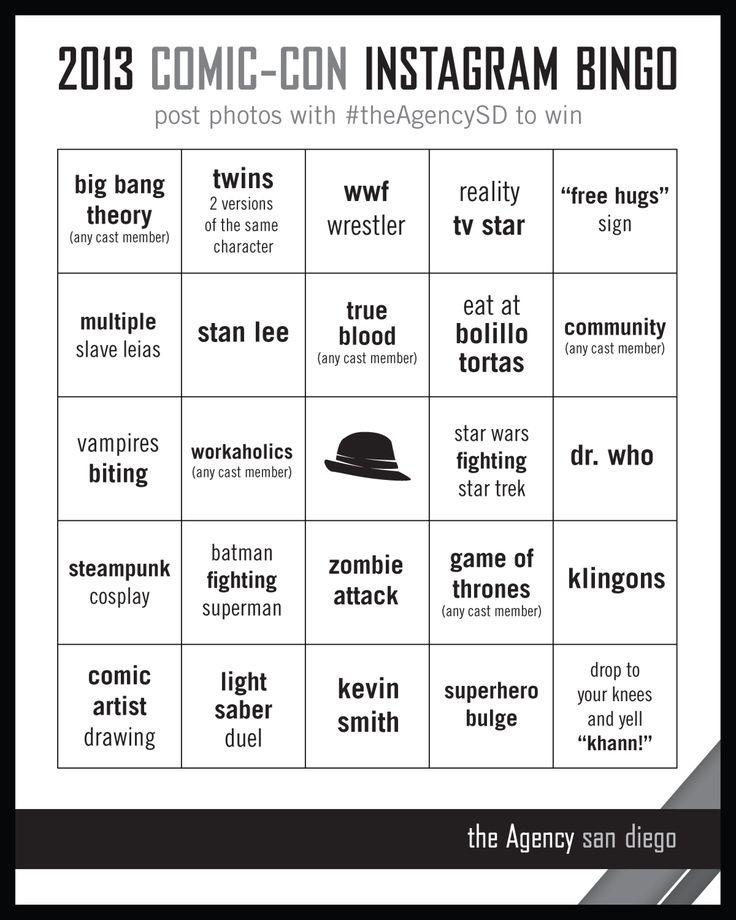 2013 Comic-Con Bingo | the Agency san diego