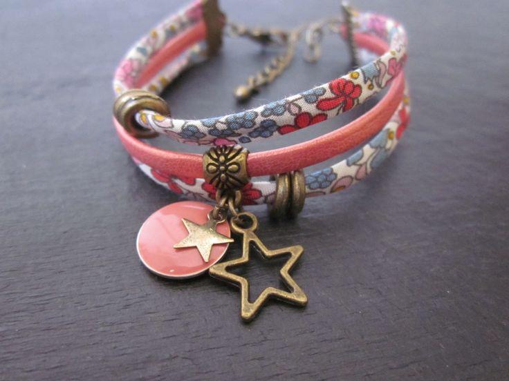Bracelet en cordon liberty et cuir *2* .