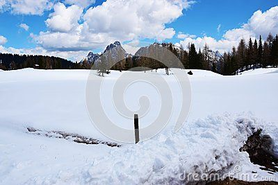 Beautiful landscape of Dolomiti mountains covered by snow in north Italy, Europe.