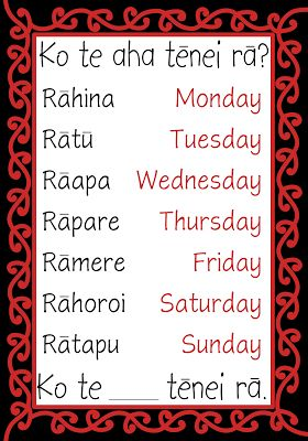 Māori days of the week for classroom display. Free and printable from Classroom…