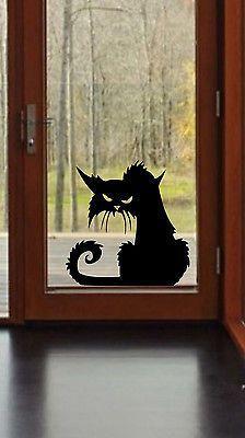 groß Details über Scary Cat Halloween Wand Fenster Aufkleber Vinyl Aufkleber Dekor