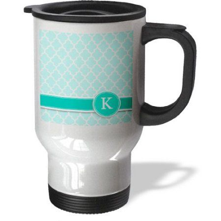 3dRose Personalized letter K aqua blue quatrefoil pattern Teal turquoise mint monogrammed personal initial, Travel Mug, 14oz, Stainless Steel