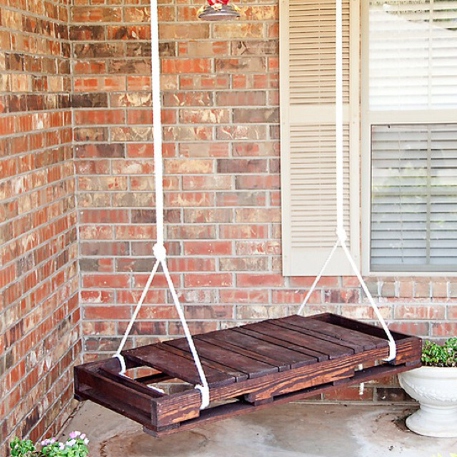 Recycled pallets. This would make a great front porch swing.