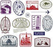 Viagens selos de borracha de