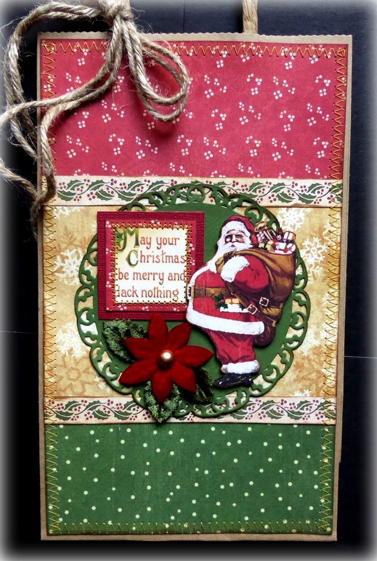 Scrapbook ideas christmas card - Graphic 45 Christmas Past Handmade Gift Bag Vintage Santas