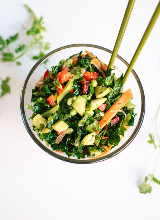 Chopped kale salad with edamame carrot and avocado recipe