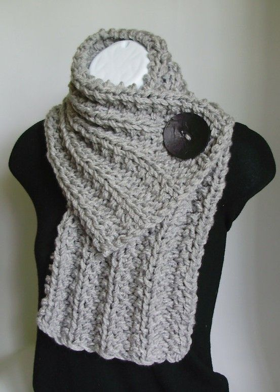 scarf: Idea, Craft, Button Scarf, Style, Crochet Scarfs