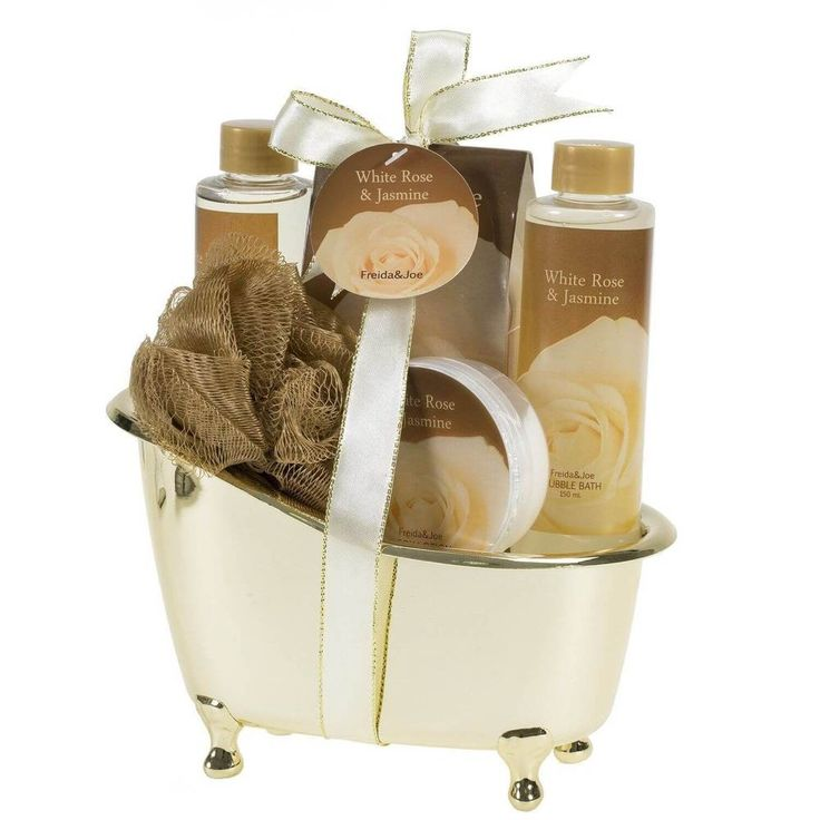 Spa Gift Set Bath White Rose Jasmine Gold Tub Romantic & Elegant Valentines Day #FreidaJoe