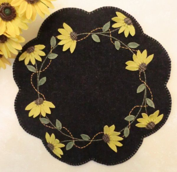 Black-Eyed Susans Wool Applique Penny Rug Candle Mat E-Pattern $6.50