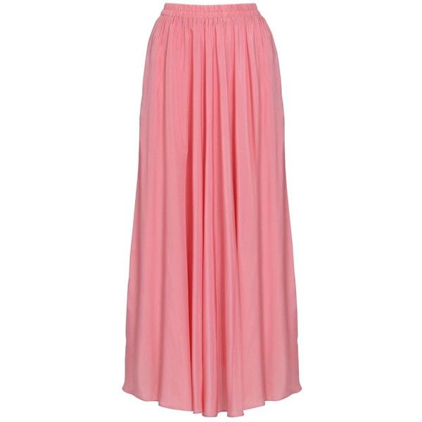 EDZ Basic Wide Flare Modest Maxi Skirt in Sunny Peach ($32) ❤ liked on Polyvore featuring skirts, pink, flared maxi skirt, pink maxi skirt, peach maxi skirt, ankle length skirt and red maxi skirt