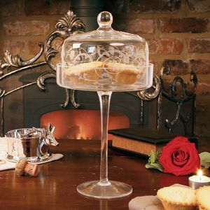 Charming Etched Glass Cake Stand With Dome Nice Look