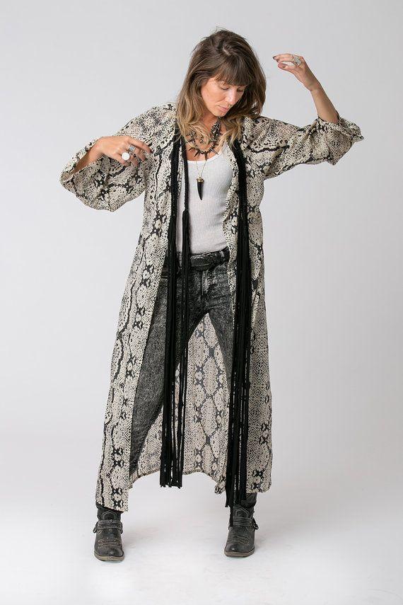 Serpiente de impresión chaqueta Kimono, Kimono Bohemia, Boho Kimono, Kimono largo, playa Cover Up, moda Boho