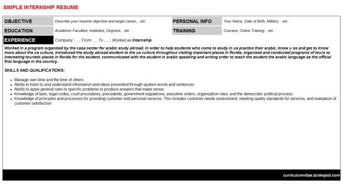 Internship Curriculum Vitae, Internship Resume, Internship CV - internship resume cover letter