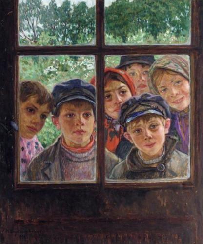 Nikolai Bogdanov-Belskii (Никола́й Петро́вич Богда́нов-Бе́льский; 1868–1945)  Children at the Window