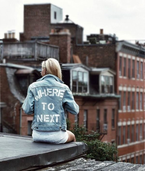 Where to Next | Embroidered Denim Jacket | Painted Jean Jacket | Embroidered Quote