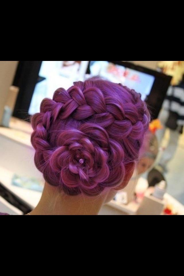 Purple Flower Braided Wedding Hair Hair Pinterest