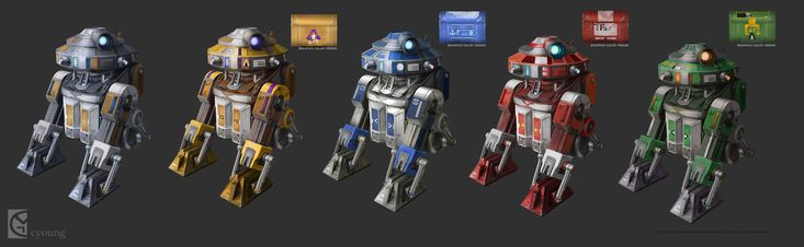 Astromech design - variations. Star Wars: The Old Republic, Clinton Young on ArtStation at https://www.artstation.com/artwork/R5PKW