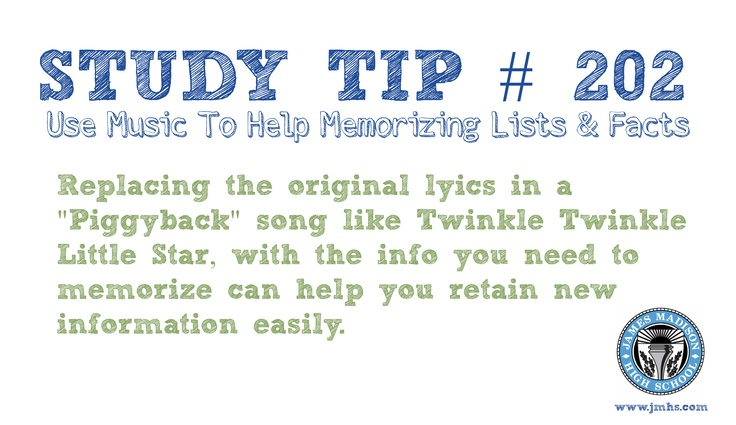 "Online High School Study Tip # 202 - Use Music to Help you Memorize    Sesame Street and Schoolhouse Rock helped a generation learn and retain History, Math, Language Arts and more! ""Oh a noun is a person, place or thing! Doodle doodle doodle do!"" ~ James Madison High School"
