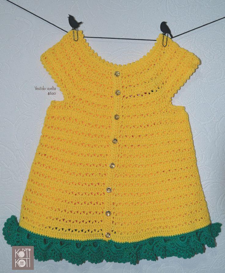 vestido amarillo bebé, tejido a mano