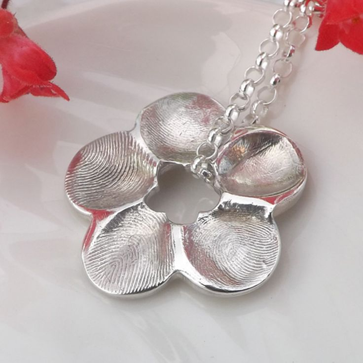 Flower Fingerprint Necklace  Fingerprint Jewellery, £95.00