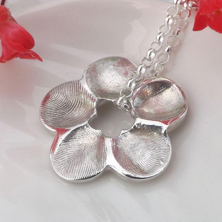 Flower Fingerprint Necklace  Fingerprint Jewellery, £95.00