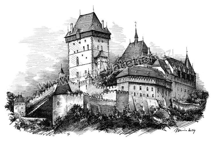 Karlštejn - kresba
