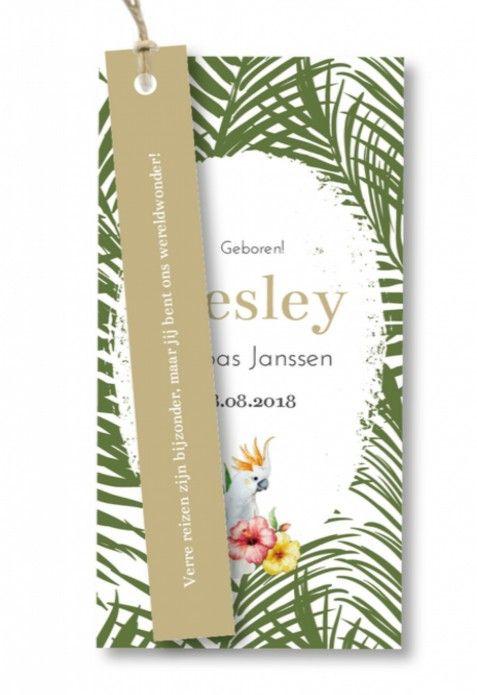Uniek, origineel en helemaal hip! Dit label jongens geboortekaartje Lesley met een zwart wit botanische achtergrond kun je helemaal zelf aanpassen naar wens. Het touw (vlaskoord) wordt er los bij geleverd.