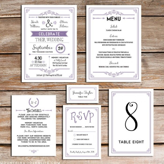 Printable Lavender DIY Wedding Invitation Set | MountainModernLife.com