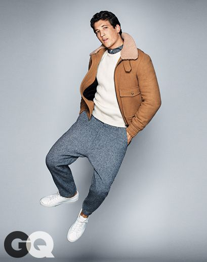 Miles Teller - GQ Dec 2014 Jacket, sweater, shirt, and pants by Ami. Sneakers by Common Projects.