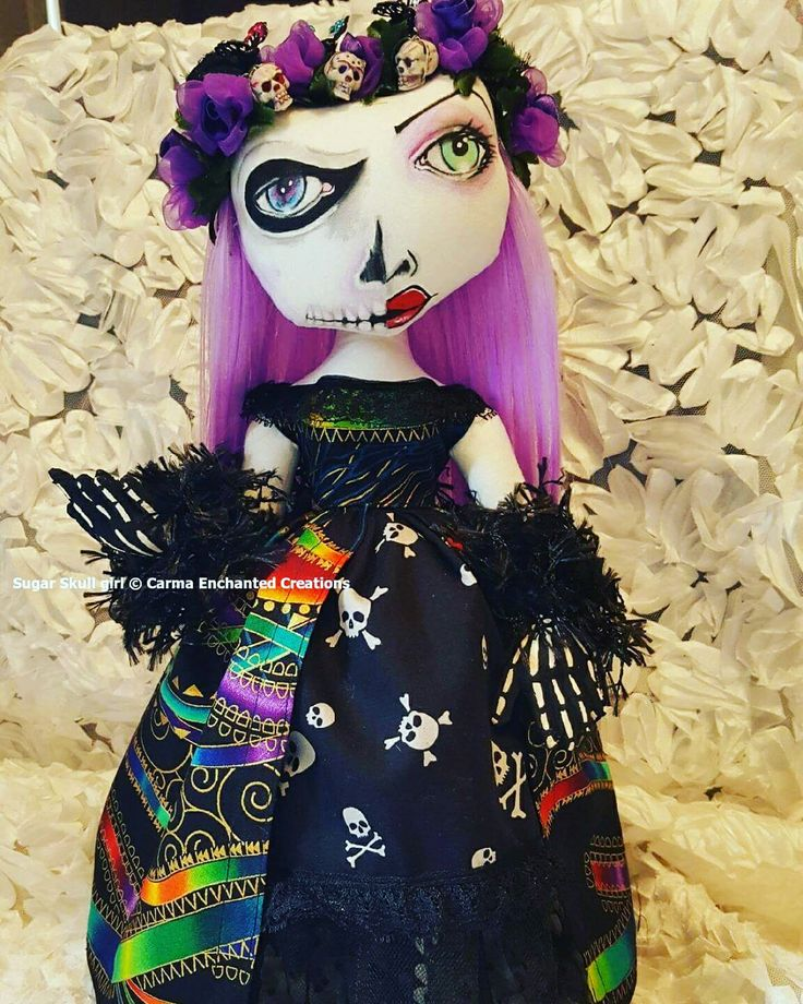 Sugar skull day of the dead by carma enchanted dolls   She will be at liverpool doll fair this weekend
