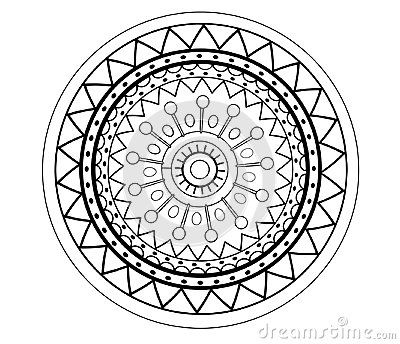 Mandala abstract flower, round ornament pattern design elements, isolated on white background.