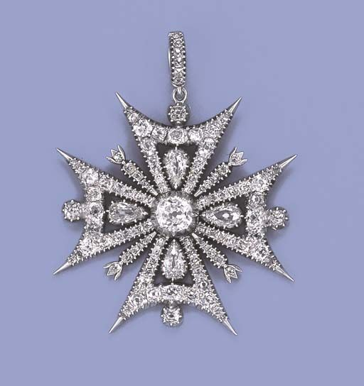 AN ANTIQUE DIAMOND MALTESE CROSS PENDANT BROOCH  The central old-cut diamond collet to the uniform arms of openwork design, old-cut diamond border and collets at the cardinal points, mounted in silver and gold, later rhodium plated, circa 1840