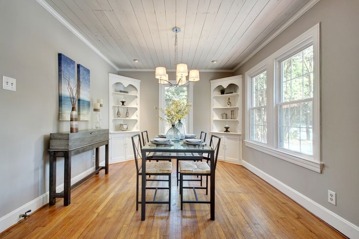 Charming original custom built-ins and shiplap ceiling in Hyde Park home at 1001 E 38th 1/2 St | Austin Tx 78751| Central Austin Homes