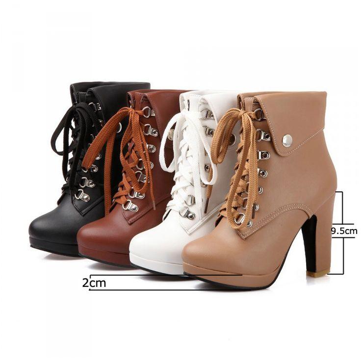 Большой размер платформы высокие каблуки сапоги узелок коренастый пятки ботильоны для женщин 2015 новинка пинетки прямая поставка купить на AliExpress