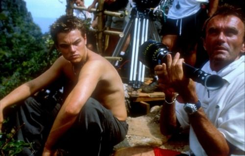 Leonardo Dicaprio and Danny Boyle on-set of The Beach (2000).