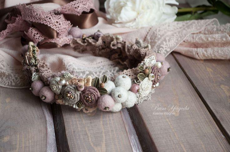 """Купить Венок """"Яблонькины сказки"""" - кремовый, розовый, пудровый, яблонька, яблони, цветение, весна"""