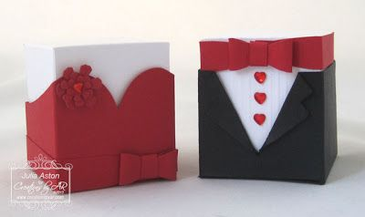 Create With Me: Cute favor boxes - a gown and tux - made with a template from Creations by AR