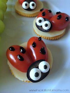 Ladybug Snack by @laurainspired  You can add a few pieces of Wondergrain gluten free sorghum on top of the tomatoes or maybe as eyes.