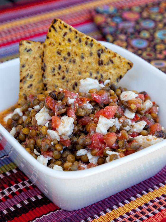 Trader Joes Lentils, Bruschetta Sauce + Feta -- instant lentil salad or appetizer