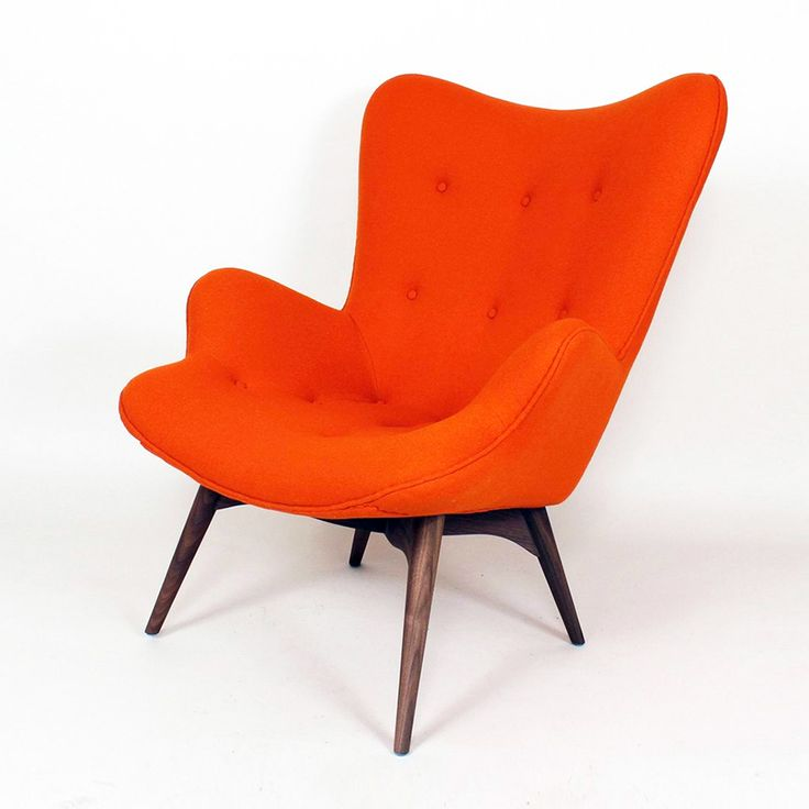 Paddington Lounge Chair   Apricot Orange (solid Walnut Wood, Orange Wool  Blend Fabric Wool + Nylon], Stainless Steel) (Mid Century Classics  Collection At ...